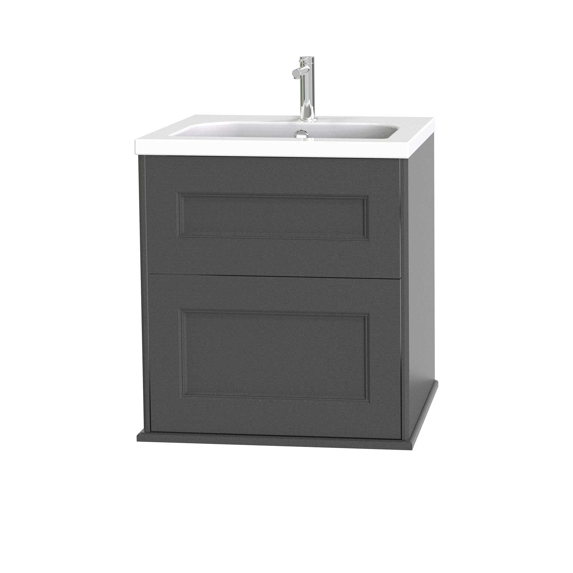 Tvättställsskåp Miller Badrum Kensington 60 med Lådor Vägghängd för Heltäckande Tvättställ