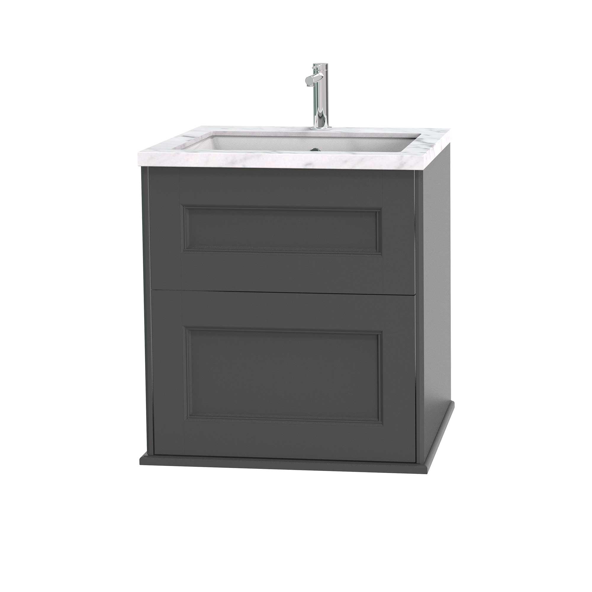 Tvättställsskåp Miller Badrum Kensington 60 med Lådor Vägghängd för Bänkskiva
