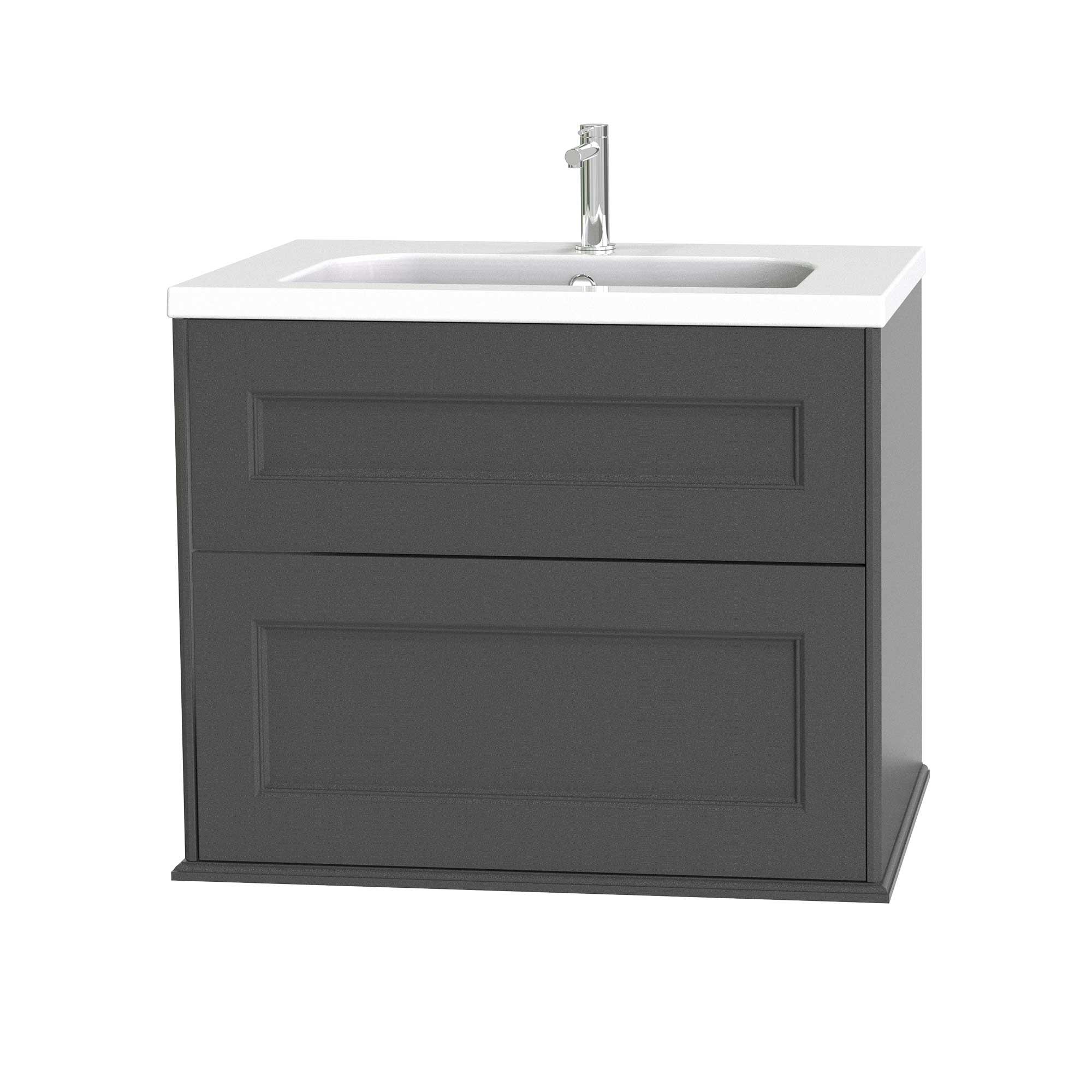 Tvättställsskåp Miller Badrum Kensington 80 med Lådor Vägghängd för Heltäckande Tvättställ
