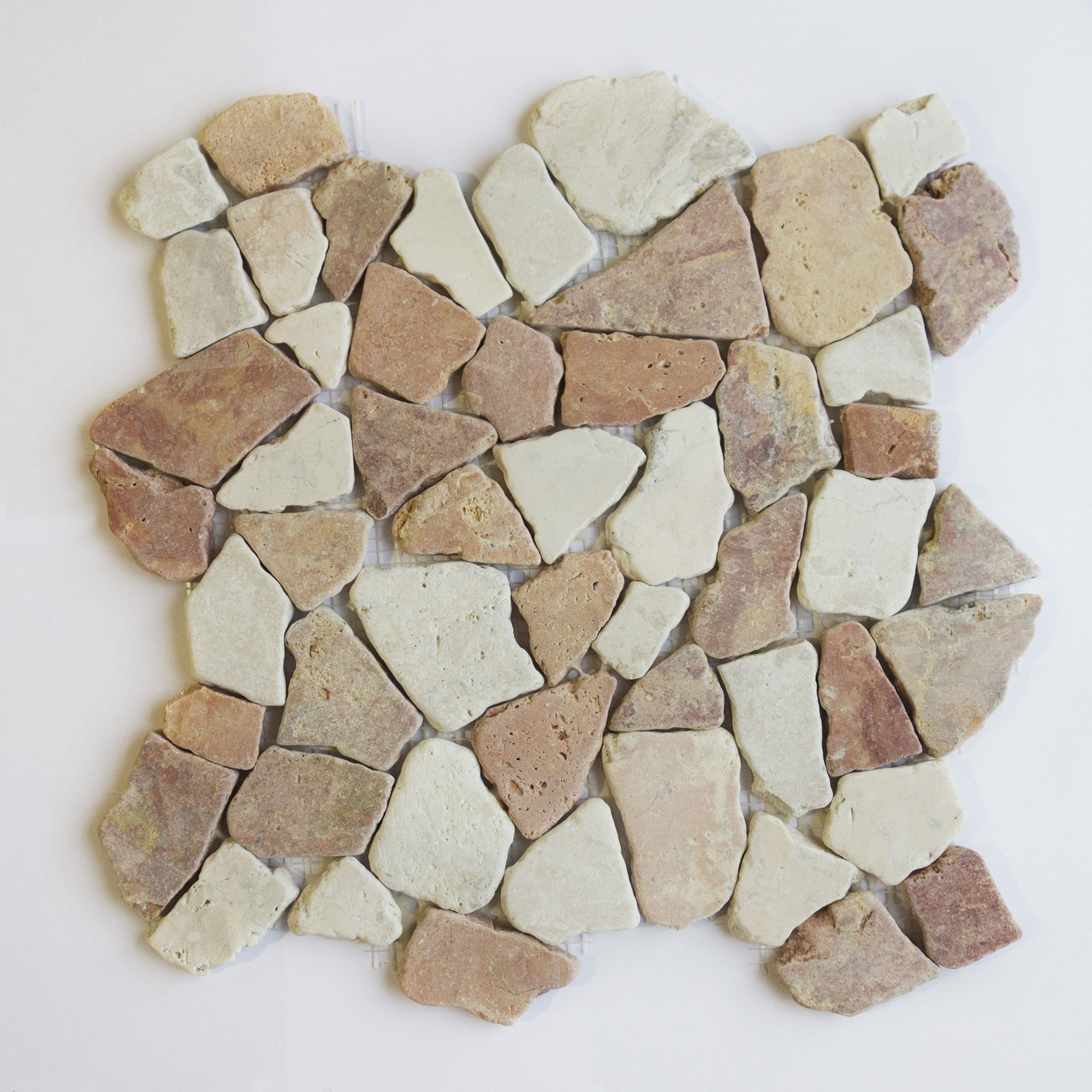Natursten Arredo Stone Cobble Mix Red/Ivory 30x30 cm