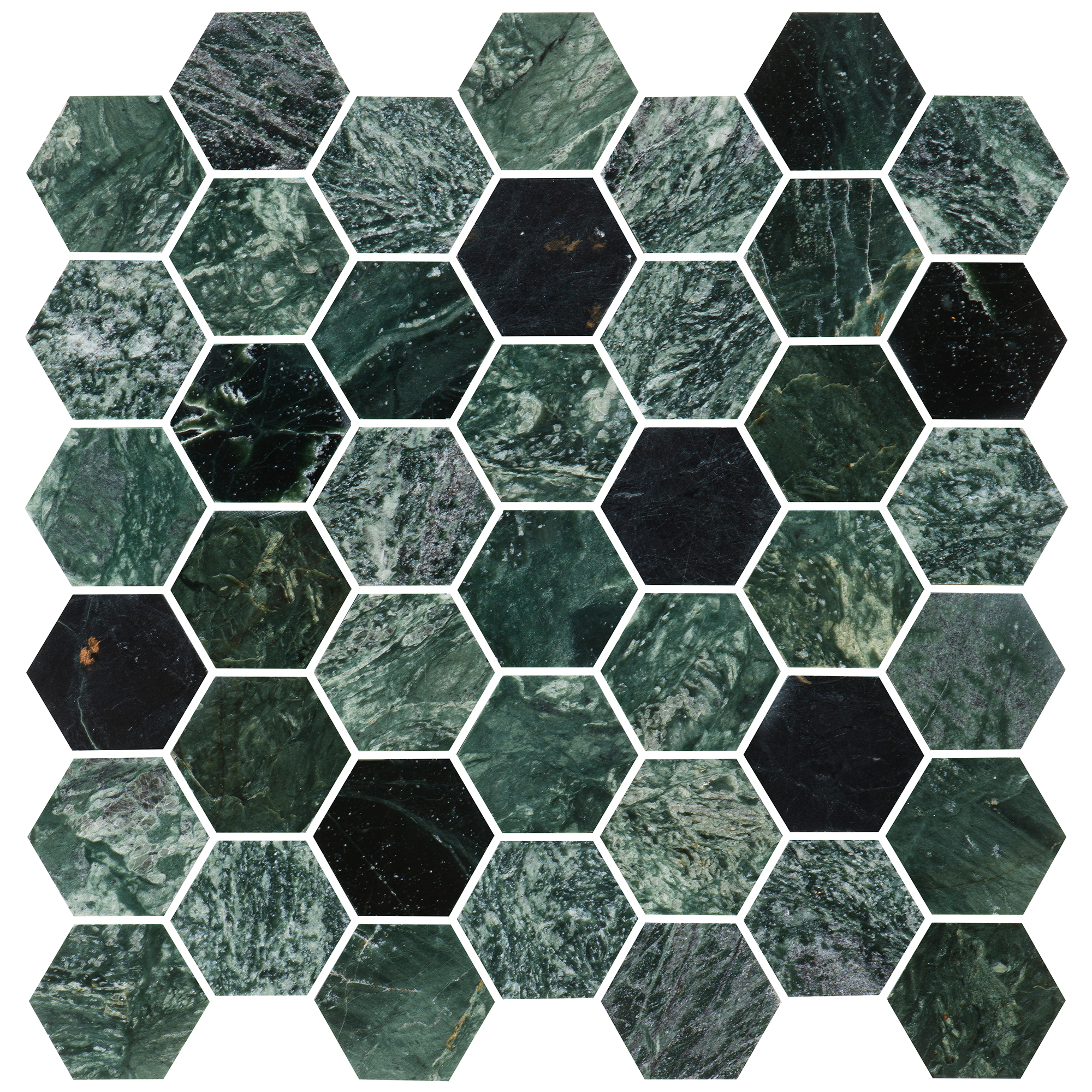 Marmor Bricmate U Hexagon Medium Green Marble Polished
