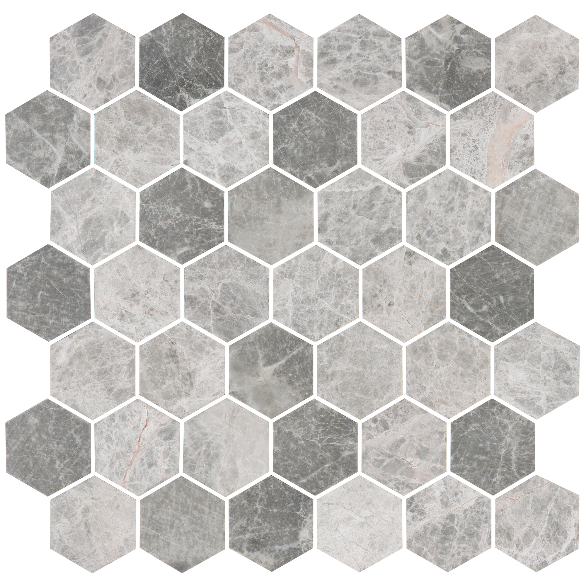 Marmor Bricmate U Hexagon Medium Grey Marble Honed