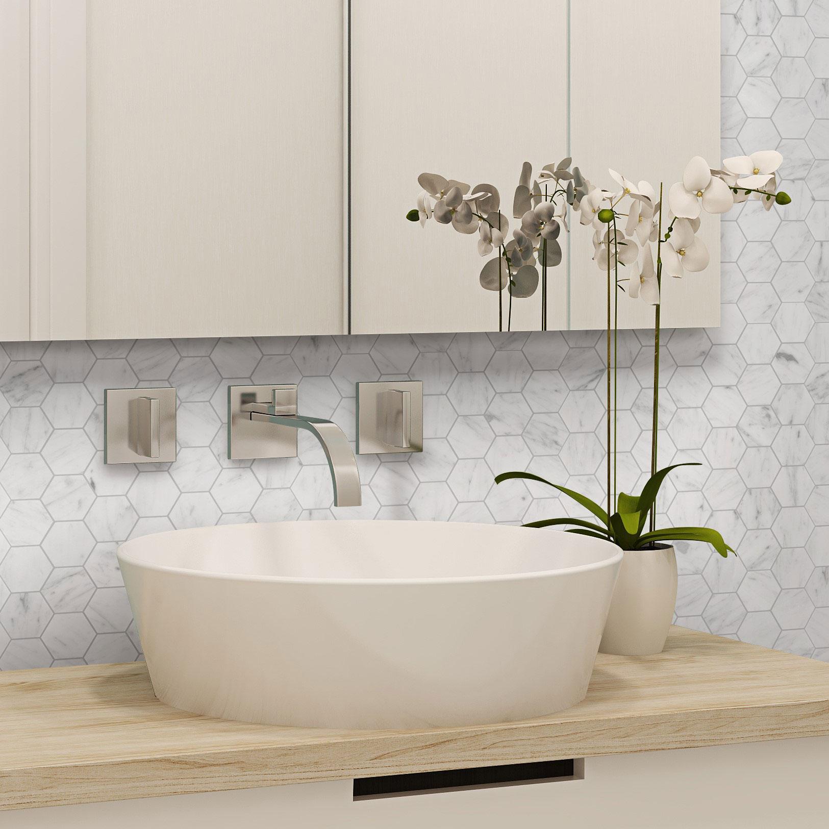 Marmor Arredo Carrara Hexagon 5×5 cm Polerad