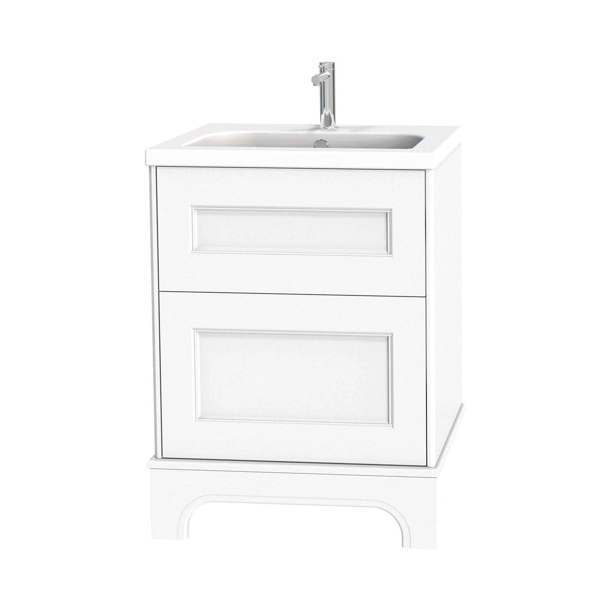 Tvättställsskåp Miller Badrum Kensington 60 med Lådor med Sockel för Heltäckande Tvättställ