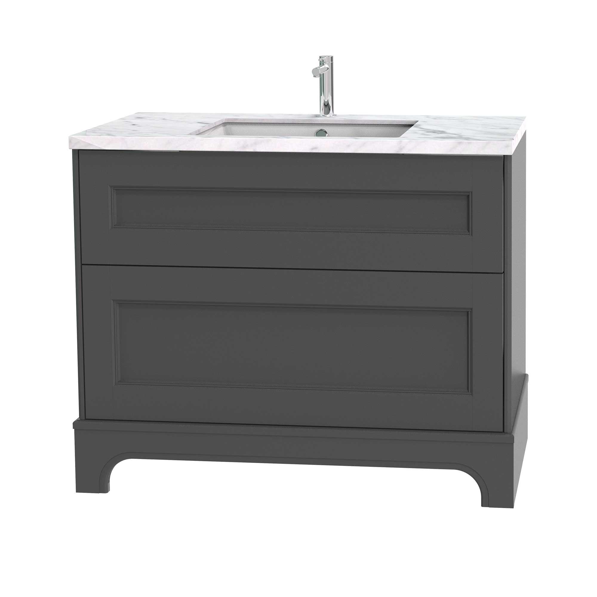 Tvättställsskåp Miller Badrum Kensington 100 med Lådor med Sockel för Bänkskiva