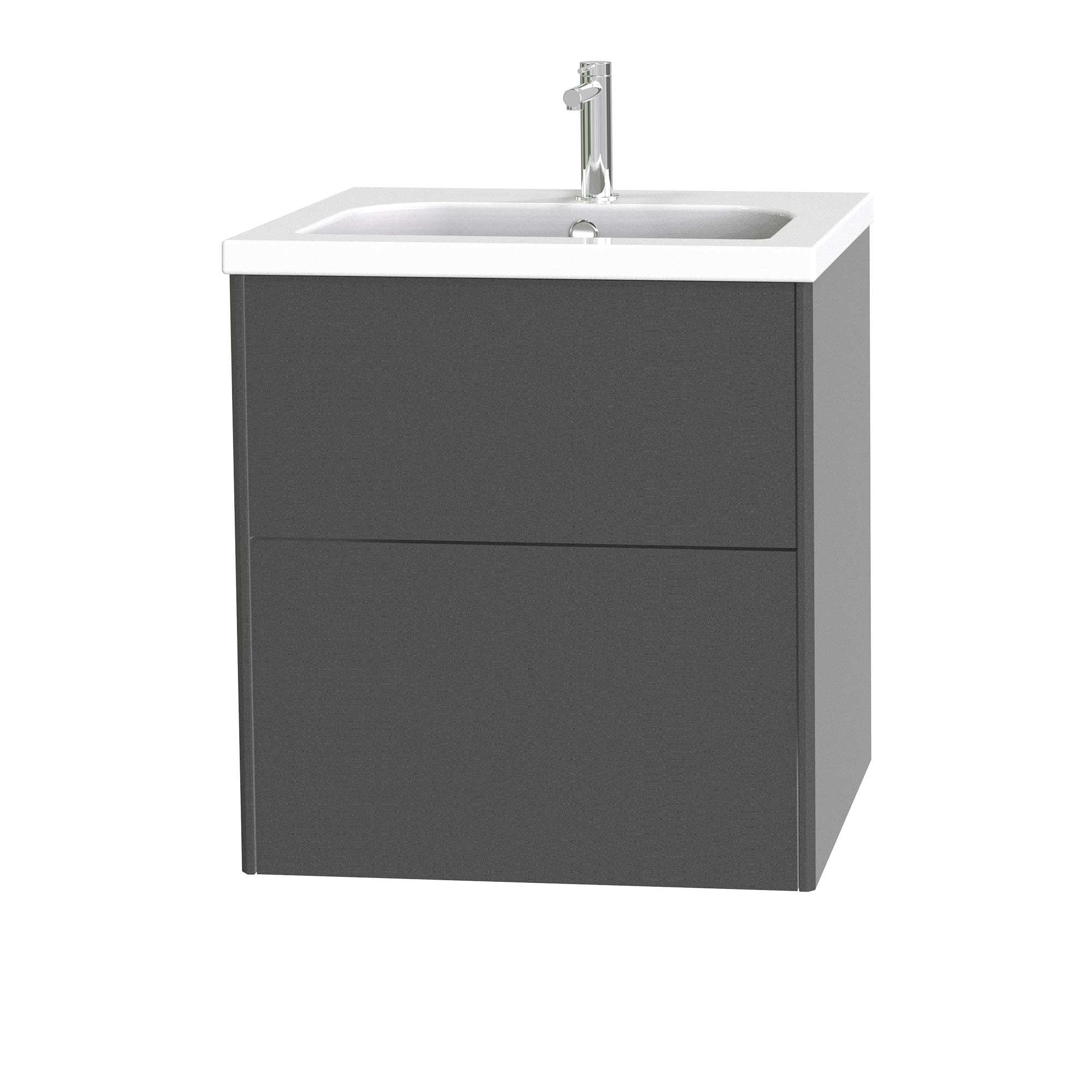 Tvättställsskåp Miller Badrum Brooklyn 60 med Lådor för Heltäckande Tvättställ