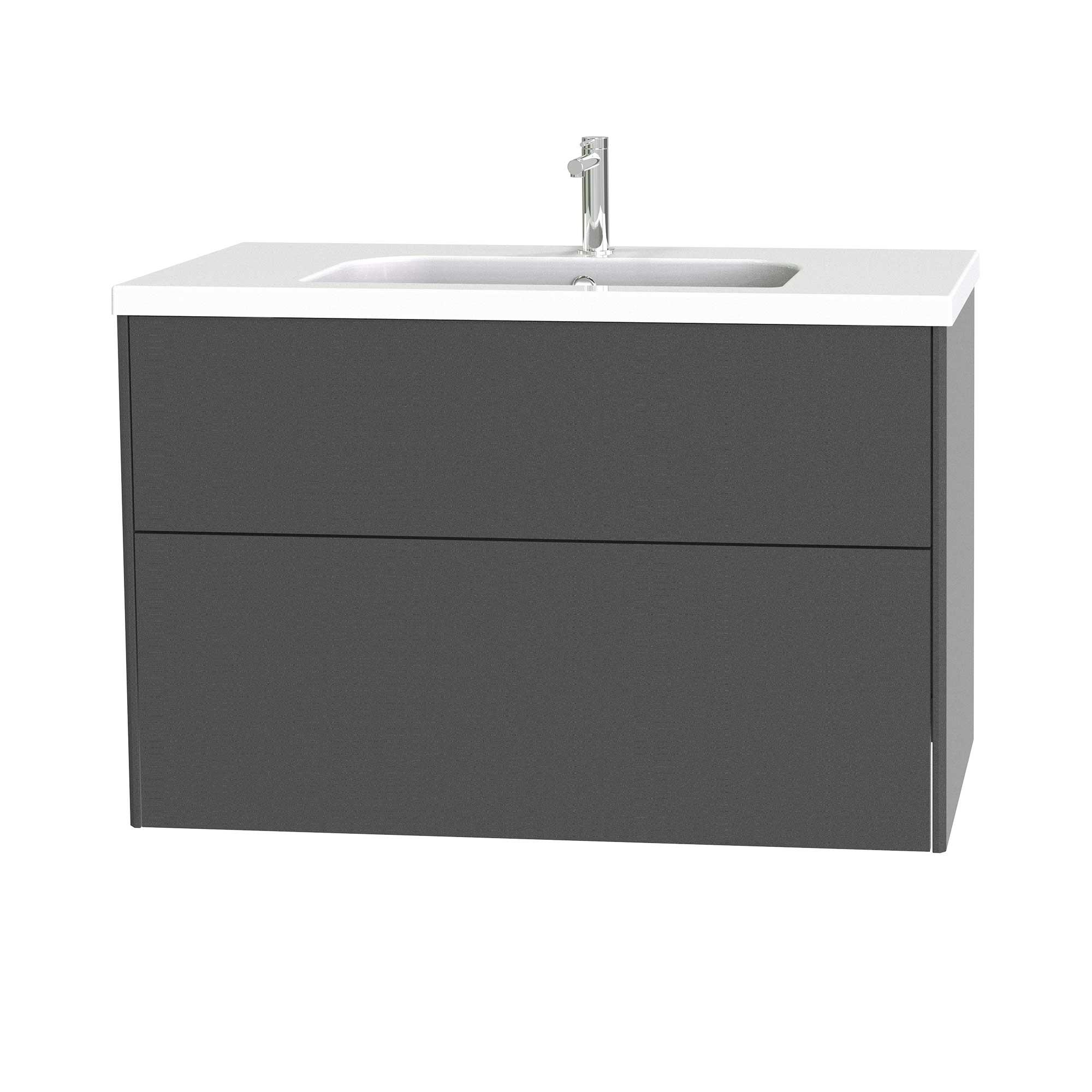 Tvättställsskåp Miller Badrum Brooklyn 100 med Lådor för Heltäckande Tvättställ