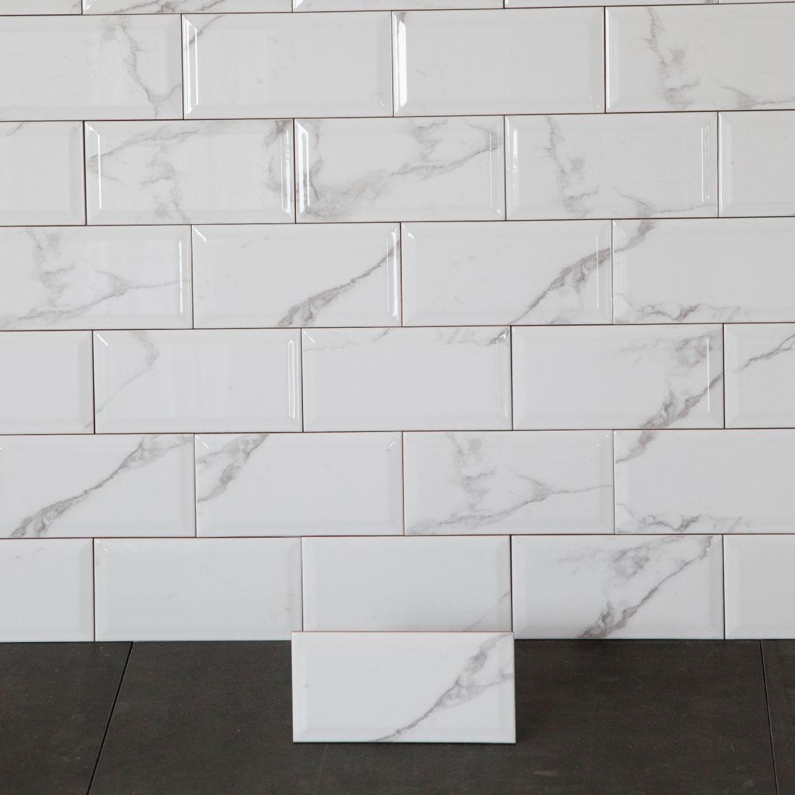 Kakel Carrara Biselado Vit 10×20 cm
