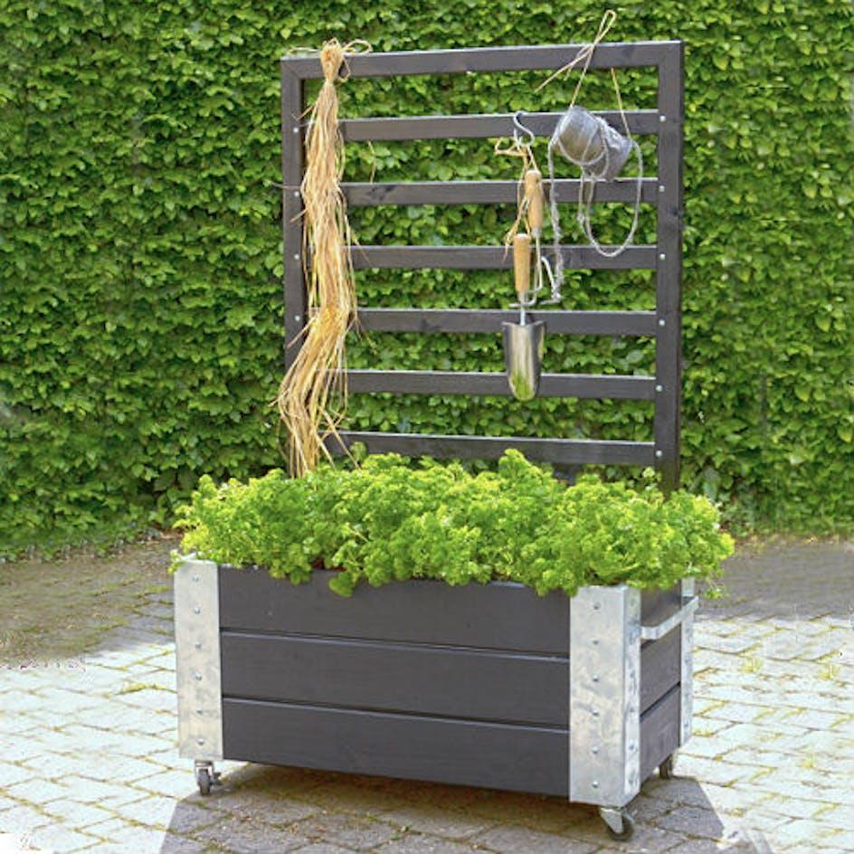 Glimrende Blomsterkasse PLUS Cubic med espalier Svart 87x50x130 cm YM-03