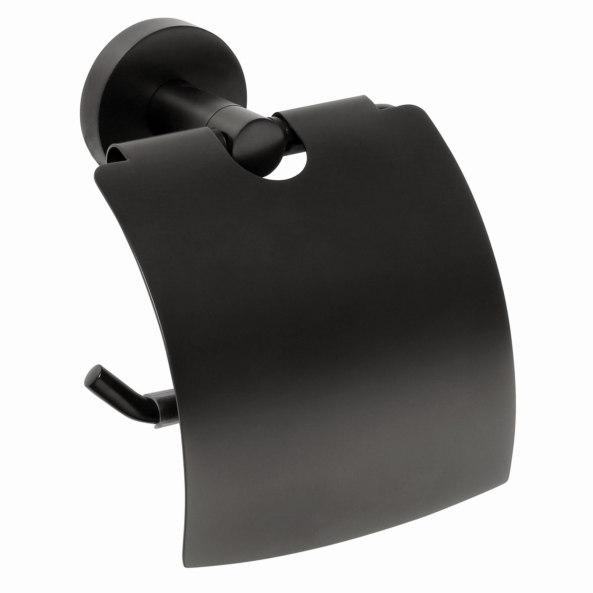 Toalettpappershållare Duschbyggarna Black med Lock