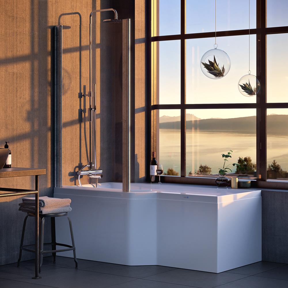 Duschbadkar Nordhem Apelviken Vit Standard Enkel rygglutning