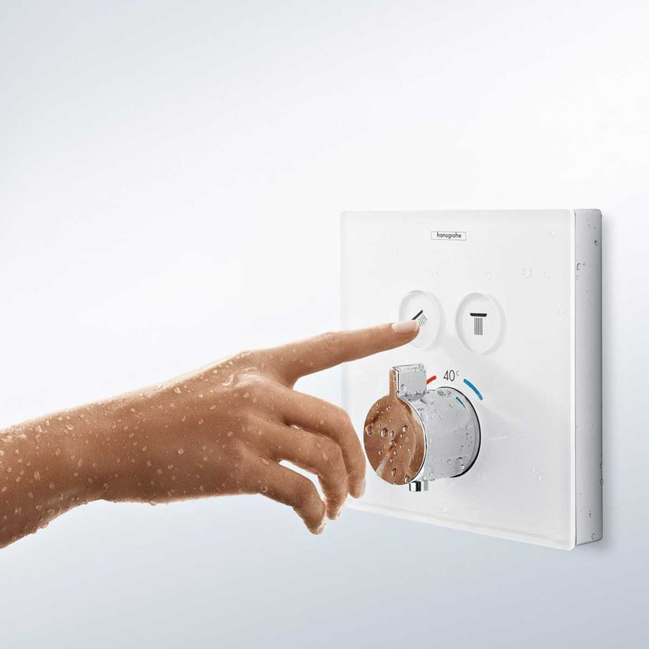 Duschblandare Hansgrohe ShowerSelect Glass Termostat 2 Funktioner Vit Krom 72fb5d45f5e8a