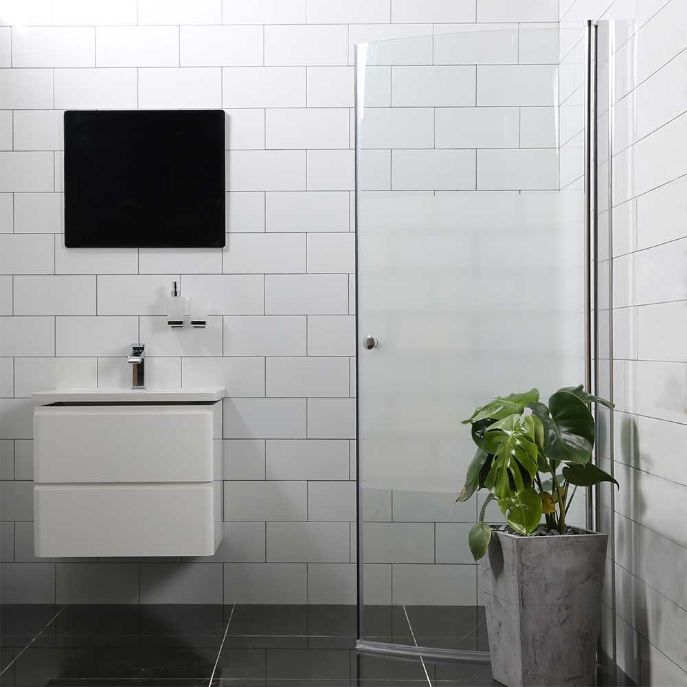 Duschdörr Bathlife Mångsidig 45° Dörr Delvis Frostat Glas