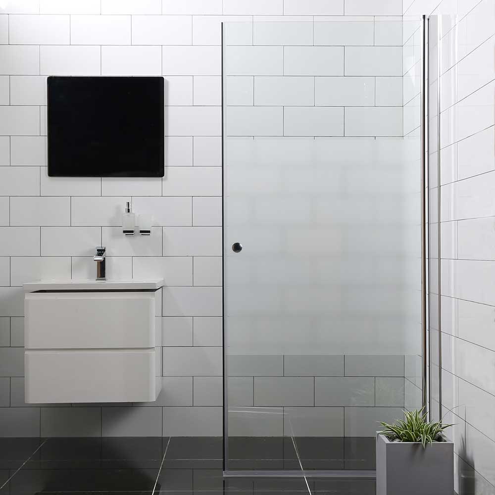 Duschdörr Bathlife Mångsidig Rak Dörr Delvis Frostat Glas