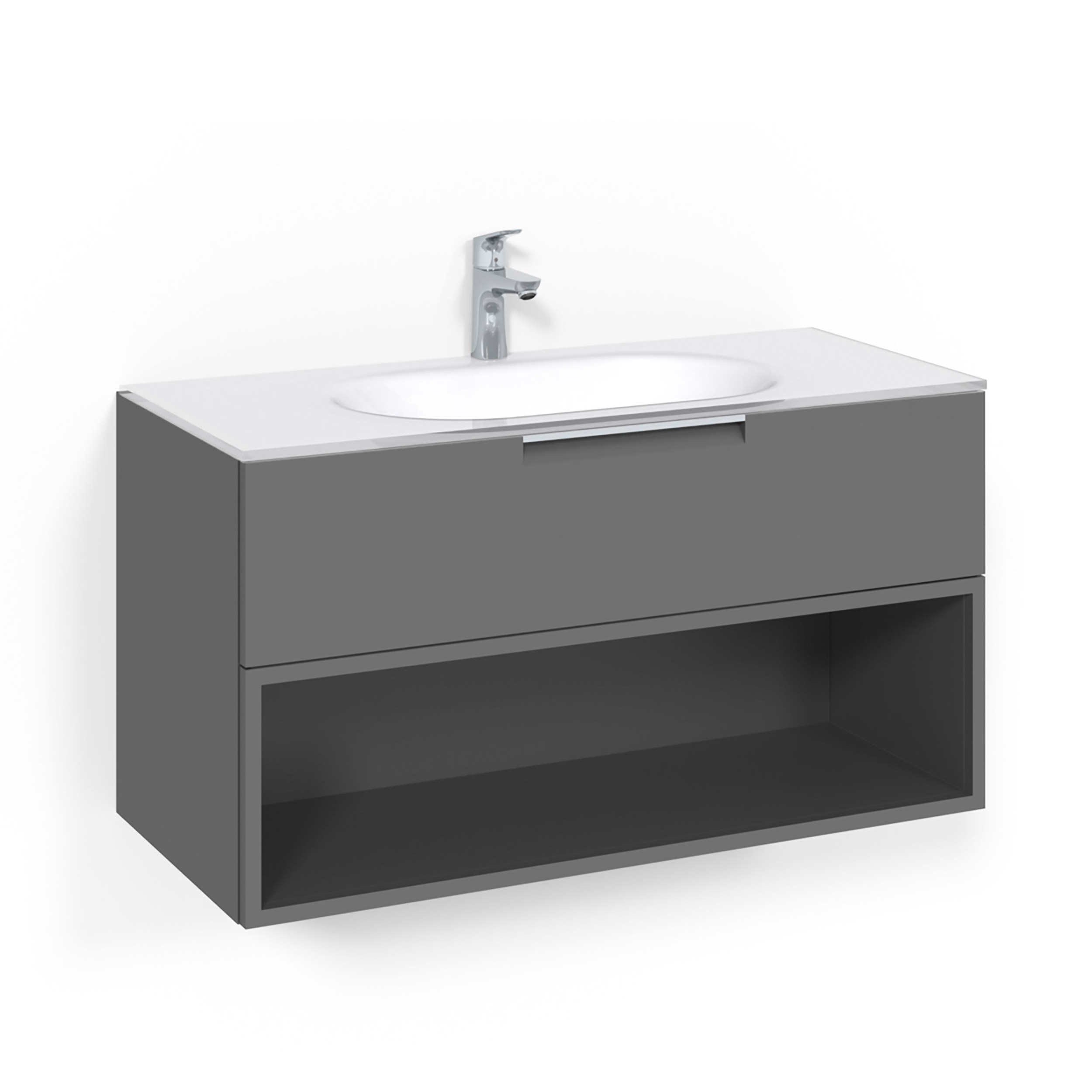 Tvättställsskåp Macro Design Crown Open Box Med Glastvättställ