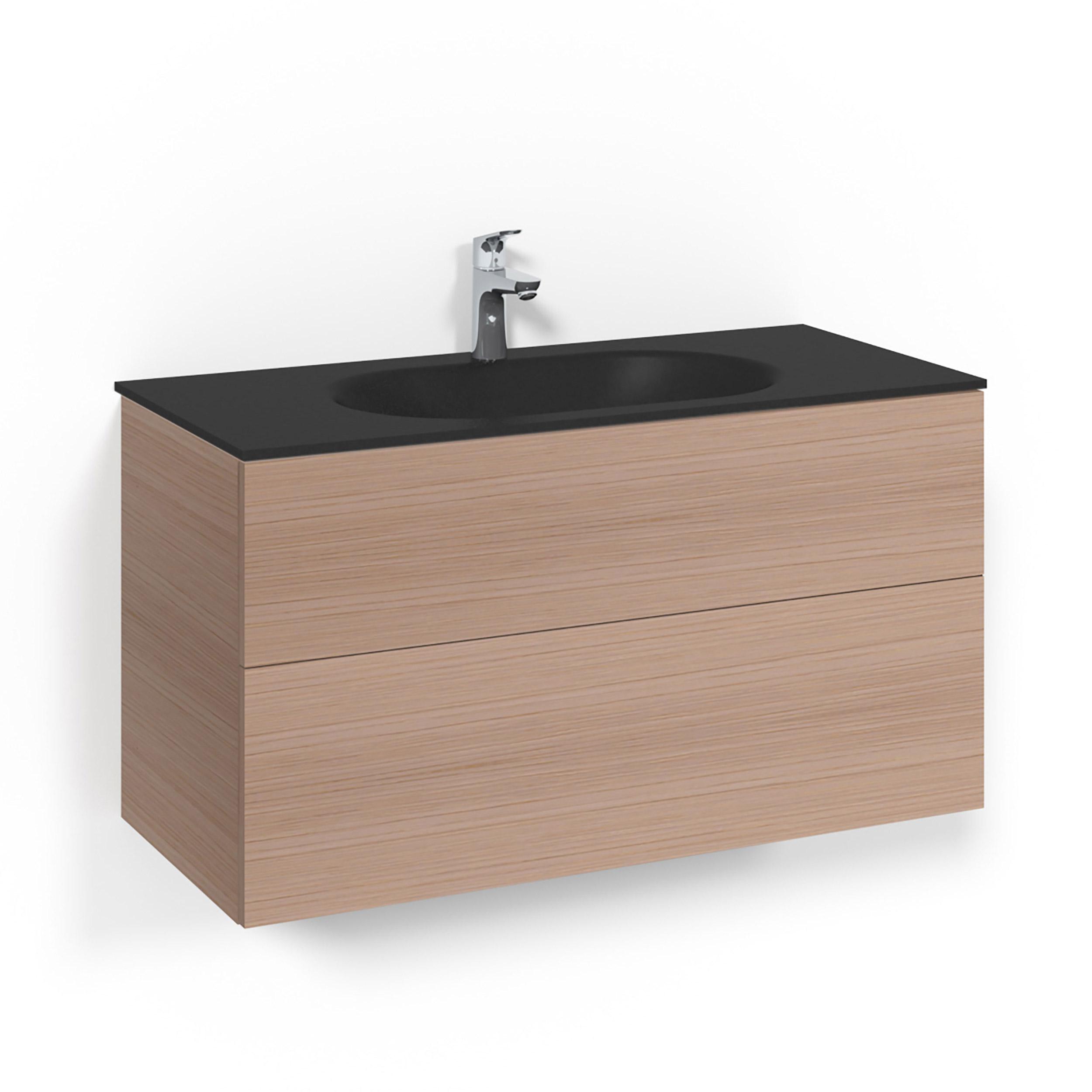 Tvättställsskåp Macro Design Crown Push Open Med Glastvättställ