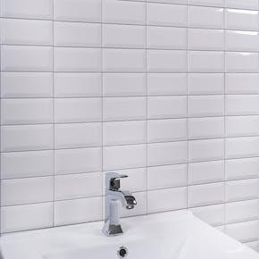 Flis Metro Hvit Blank 7,5x15 cm