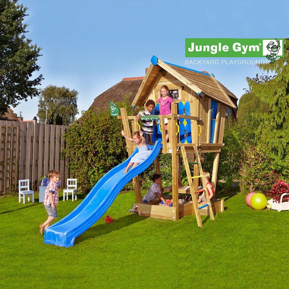 Klätterställning Jungle Gym Crazy Playhouse Komplett +Torn Rutschkana Gul d85987dafe75e