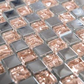 Krystallmosaikk Rose Silver 30x30 cm