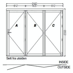 Lacuna Foldedør 3-dørs Hvit