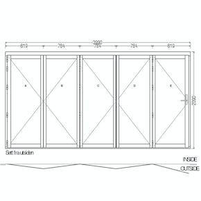 Lacuna Foldedør 5-dørs Hvit