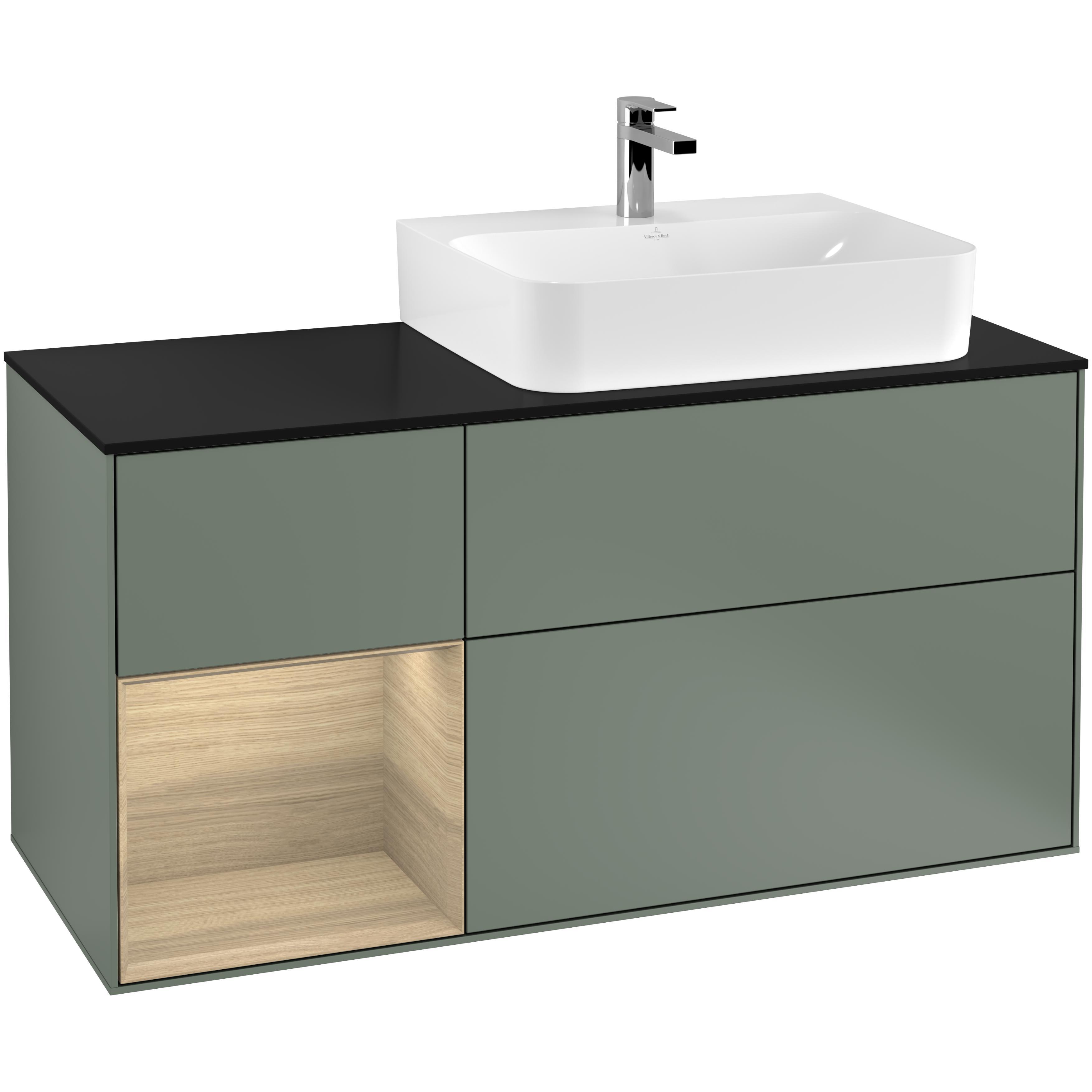 Tvättställsskåp Villeroy & Boch Finion med 3 Lådor Hylla och Bänkskiva för Ocentrerat Tvättställ