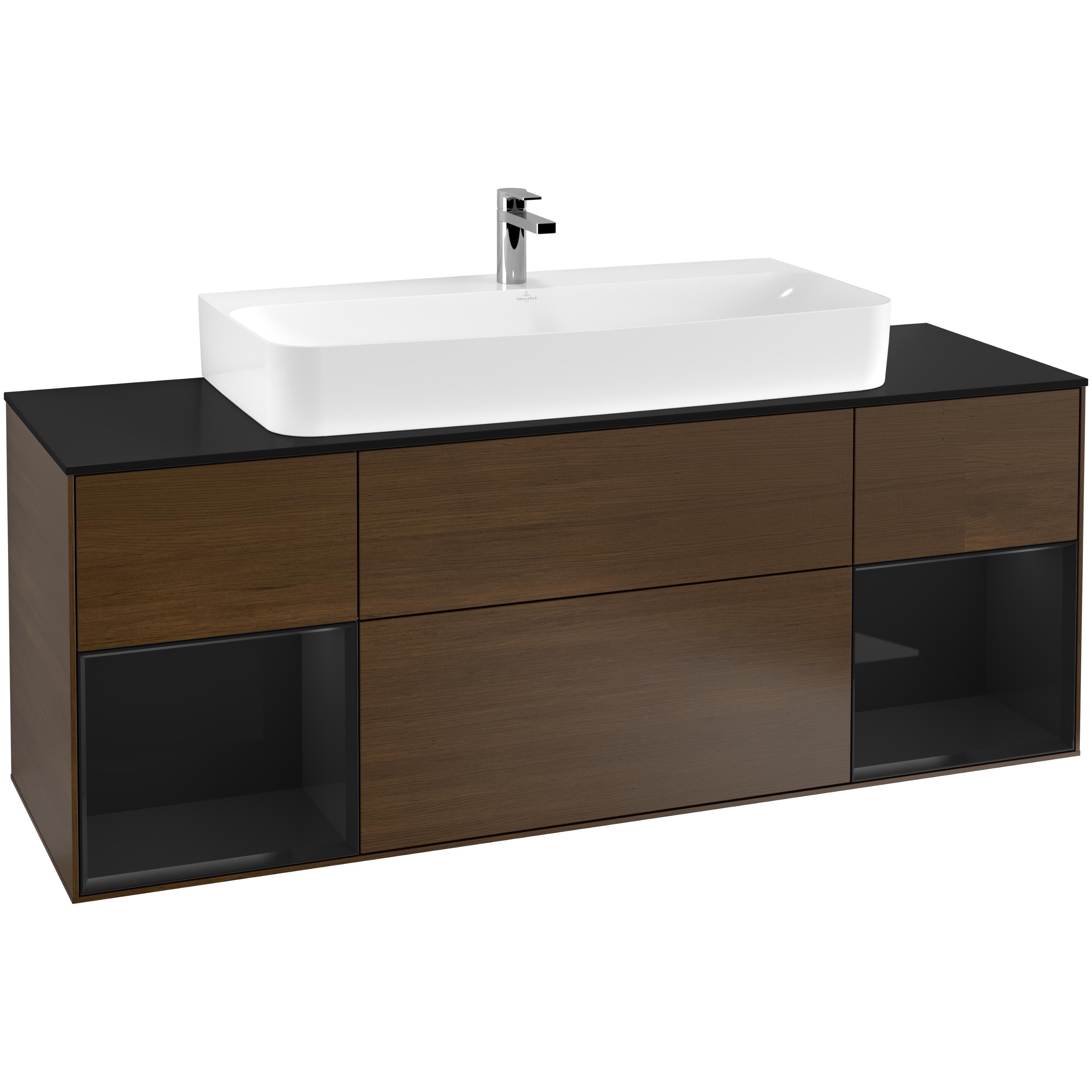 Tvättställsskåp Villeroy & Boch Finion med Två Hyllor och Bänkskiva för Centrerat Tvättställ
