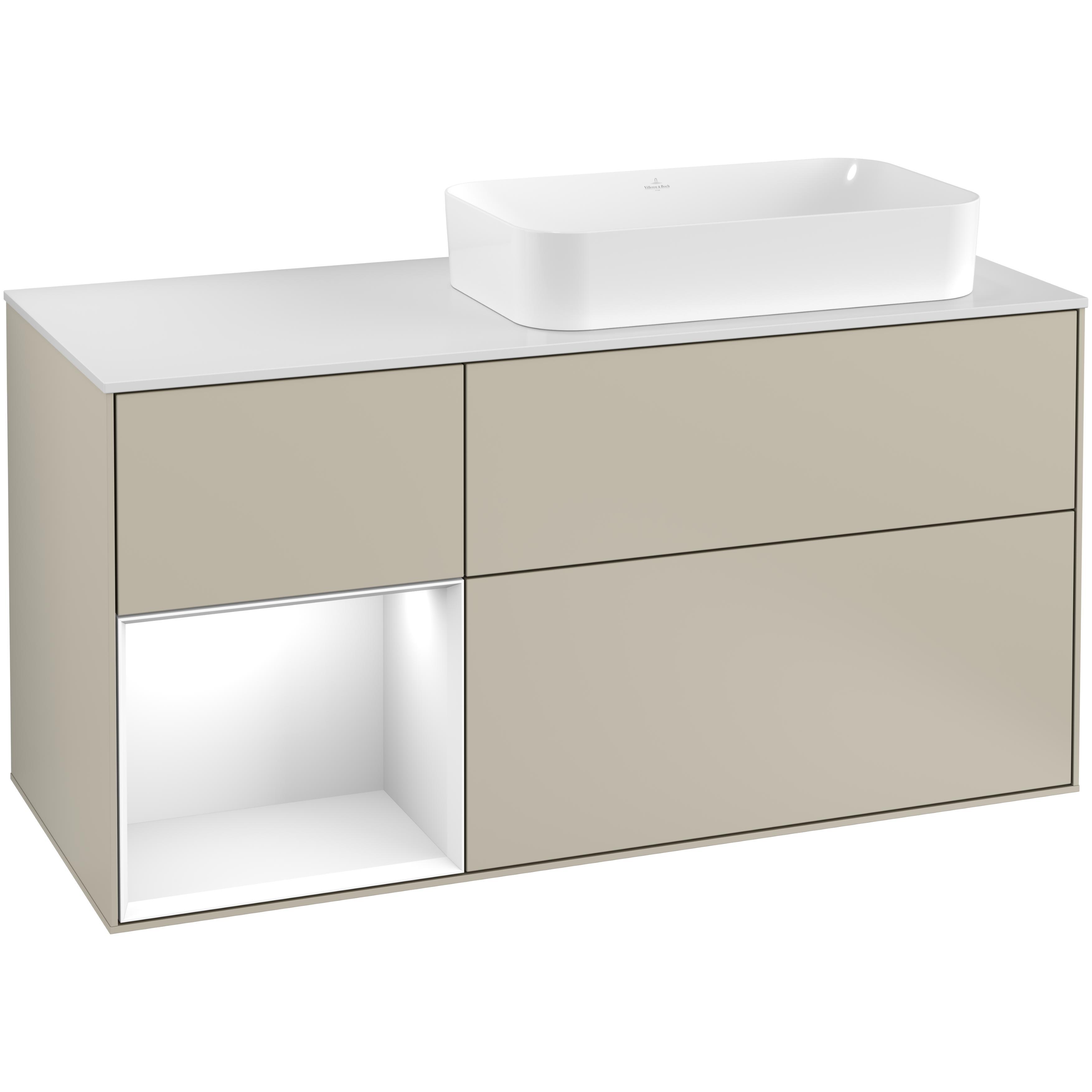 Tvättställsskåp Villeroy & Boch Finion med 3 Lådor Hylla och Bänkskiva för Ocentrerat Fristående Tvättställ