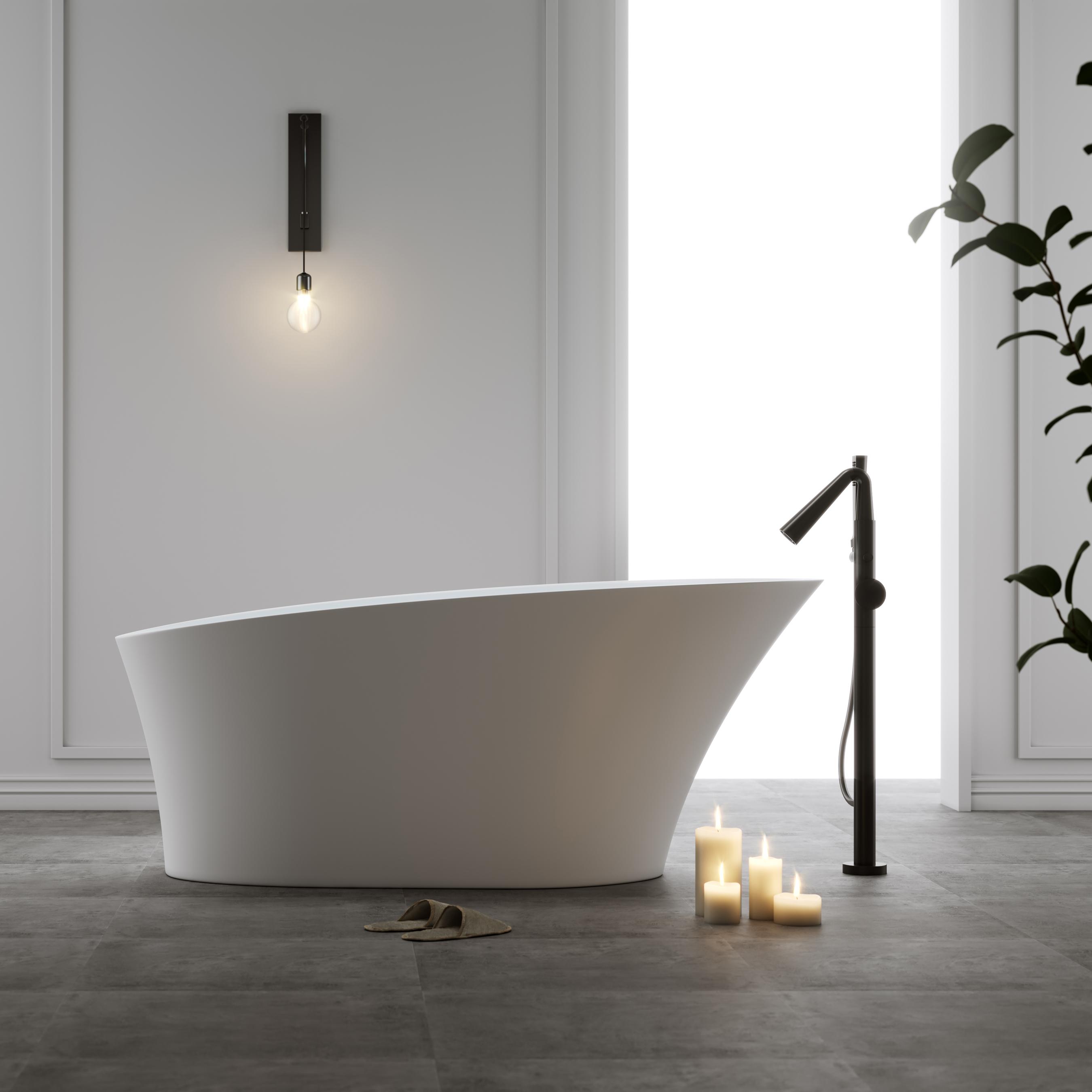 Badkar Bathlife Populär Fristående Matt Vit