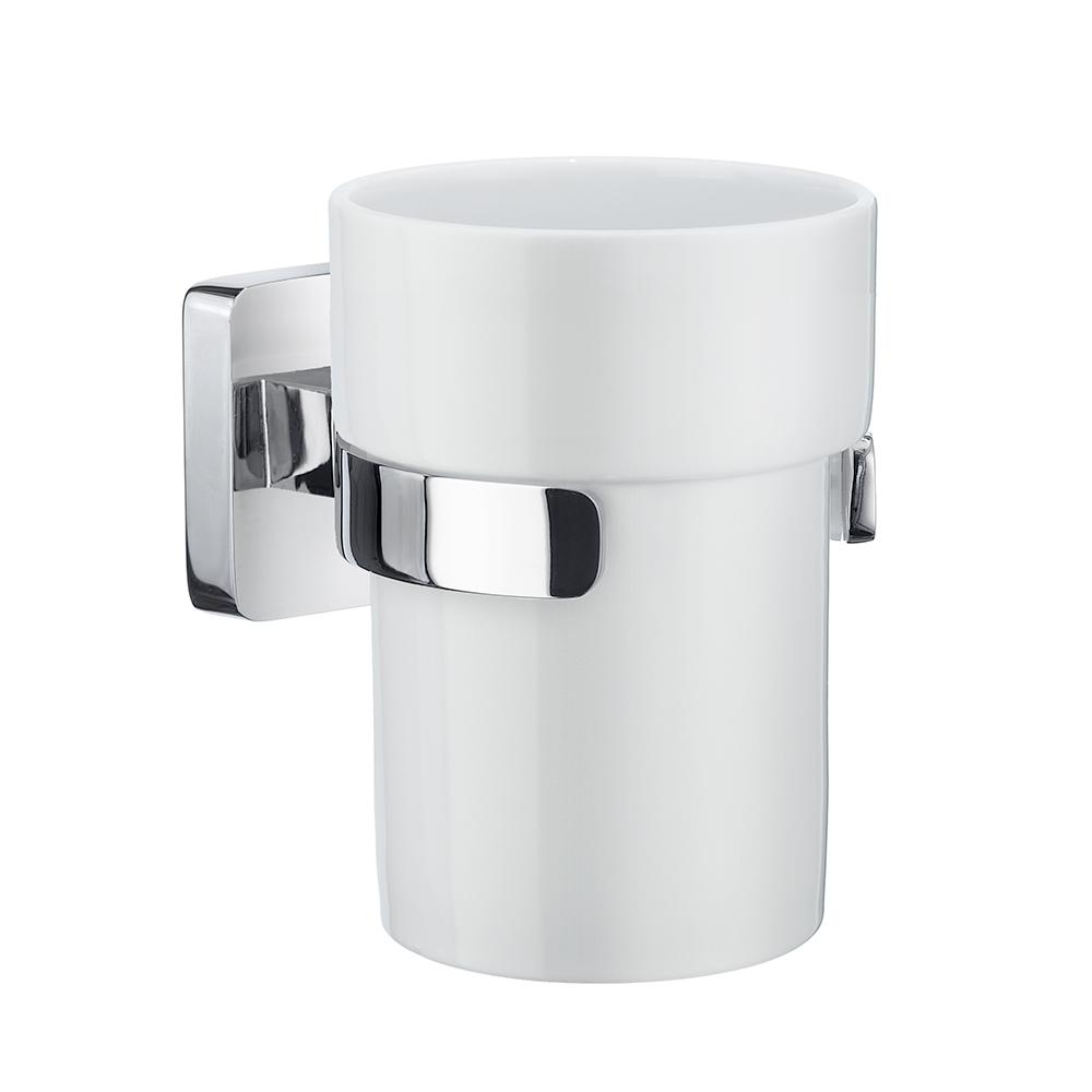 Tandborstglas Smedbo Ice OK343P Krom/Vitt Porslin