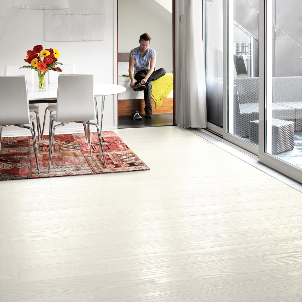 Tarkett Trägolv Shade Ask Pearl White Plank