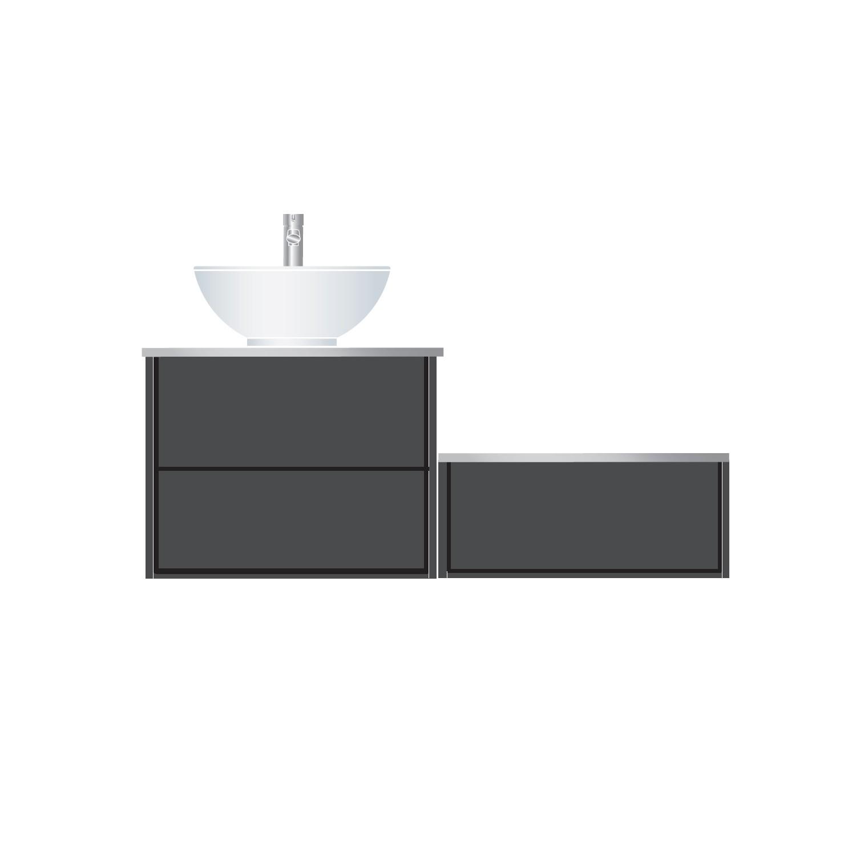 Tvättställsskåp Hafa Edge 600 med Separat Sidomodul 600 och Bänkskivor