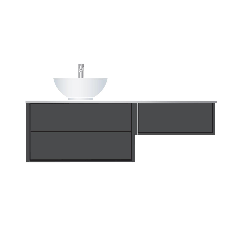 Tvättställsskåp Hafa Edge 800 med Sidomodul 600 och Bänkskiva