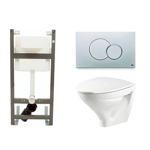 Vägghängd Toalettstol Ifö Sign 6875 med Ifö Sign 1100 Komplett
