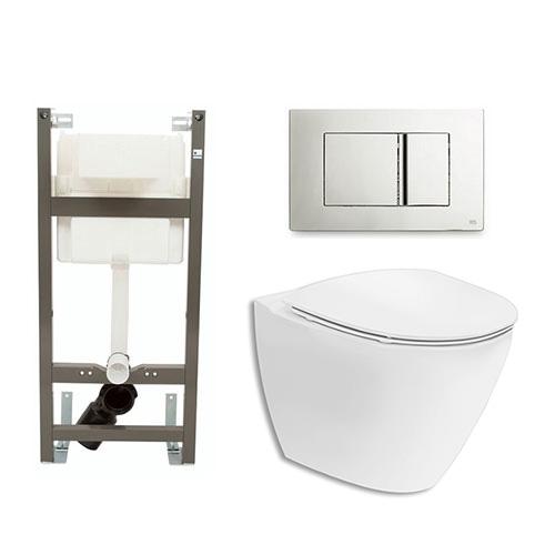 Vägghängd Toalettstol Ifö Spira Art 6245 Komplett med Spolknapp och WC-Fixtur